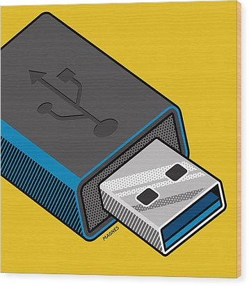 Wood Print featuring the digital art Flash Drive by Ron Magnes