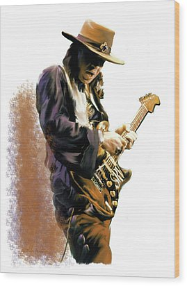 Flash Point Stevie Ray Vaughan Wood Print by Iconic Images Art Gallery David Pucciarelli