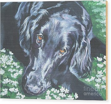Wood Print featuring the painting Flat Coated Retriever by Lee Ann Shepard