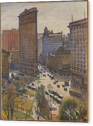 Wood Print featuring the painting Flatiron Building New York By Samuel Halpert by Samuel Halpert