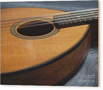 Flatiron Mandolin On Blue Wood Print by Anna Lisa Yoder