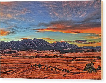 Wood Print featuring the photograph Flatiron Sunset Fire Red by Scott Mahon