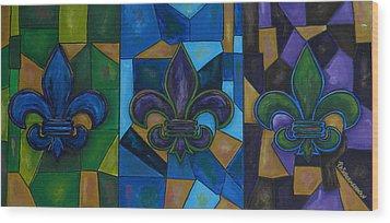 Fleur De Lis Trinity Wood Print by Patti Schermerhorn