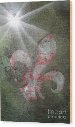 Wood Print featuring the painting Fleur Di Lis by Tbone Oliver