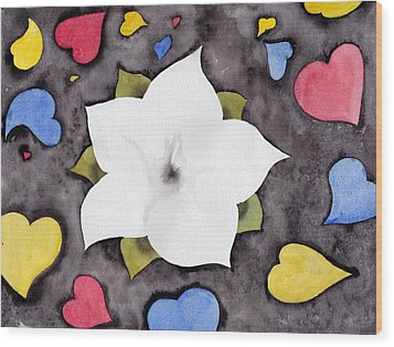 Wood Print featuring the painting Fleur Et Coeurs by Marc Philippe Joly