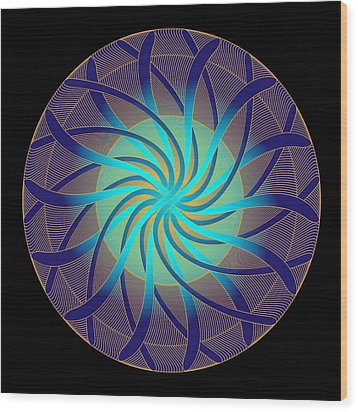 Wood Print featuring the digital art Fleuron Composition No. 14 by Alan Bennington