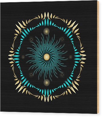 Wood Print featuring the digital art Fleuron Composition No. 63 by Alan Bennington