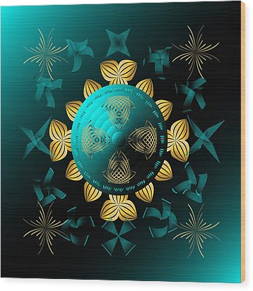 Wood Print featuring the digital art Fleuron Composition No. 8 by Alan Bennington