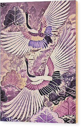 Flight Of Lovers - Kimono Series Wood Print by Susan Maxwell Schmidt