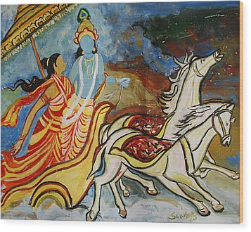 Flight Of Rukmini With Krishna Wood Print by Anand Swaroop Manchiraju
