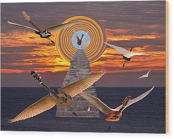 Flight Of The Guitars Wood Print by Eric Kempson