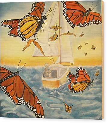 Flight Of The Monarchs Wood Print by Kathern Welsh