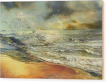Flight Of The Seagulls Wood Print by Anne Weirich