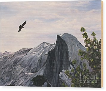 Wood Print featuring the painting Flight Over Yosemite by Judy Filarecki