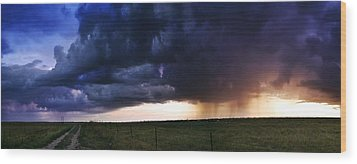 Flint Hills Storm Panorama  Wood Print