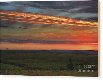 Wood Print featuring the photograph Flint Hills Sunrise by Thomas Bomstad