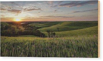 Flint Hills Sunset Pano Wood Print by Scott Bean