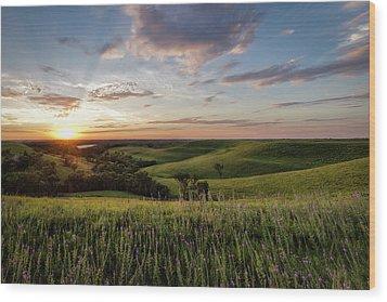 Flint Hills Sunset Wood Print by Scott Bean