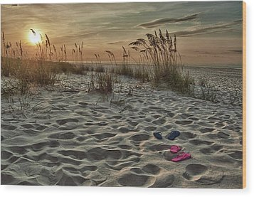 Flipflops On The Beach Wood Print by Michael Thomas