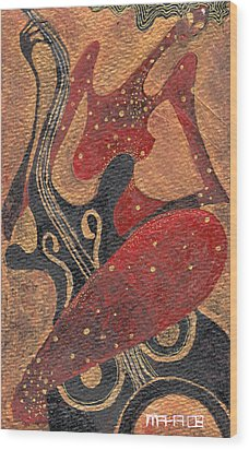 Wood Print featuring the painting Flirting With Cello by Maya Manolova