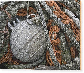 Float And Fishing Nets Wood Print by Carol Leigh