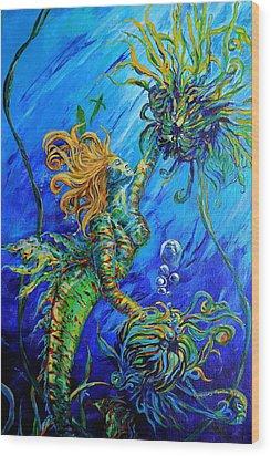 Floating Blond Mermaid Wood Print