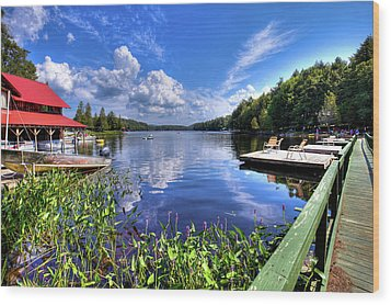 Wood Print featuring the photograph Floating Bridge At Covewood by David Patterson