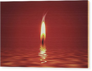 Floating Candlelight Wood Print by Wim Lanclus