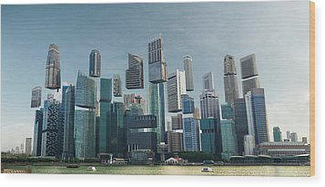 Floating City Wood Print by Andrew Kow