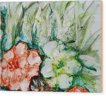 Floating Flowers 3 Wood Print by Laurie Morgan