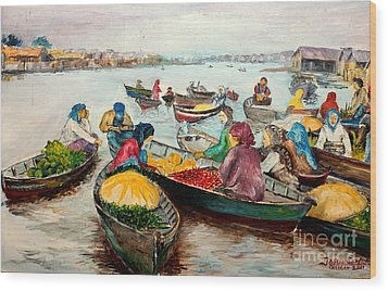 Wood Print featuring the painting Floating Market by Jason Sentuf