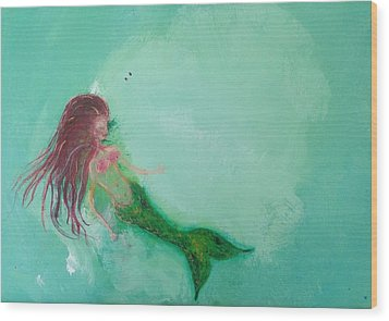Floaty Mermaid Wood Print by Roxy Rich