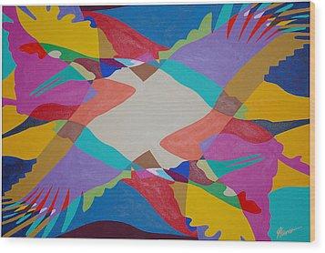Flock Of Wings Wood Print by Guadalupe Herrera