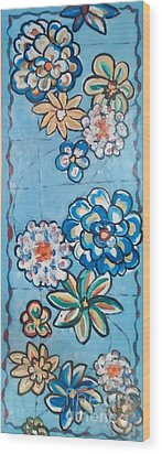 Floor Cloth Blue Flowers Wood Print
