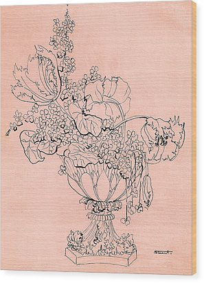 Wood Print featuring the drawing Flora 2 by Stuart