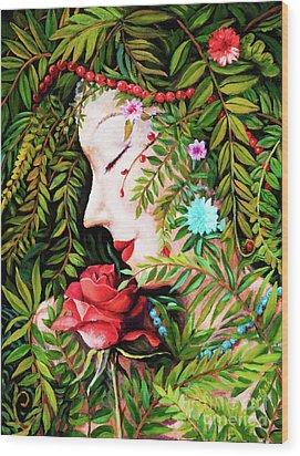 Wood Print featuring the painting Flora-da-vita by Igor Postash