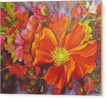 Wood Print featuring the painting Floral Abundance by Chris Hobel