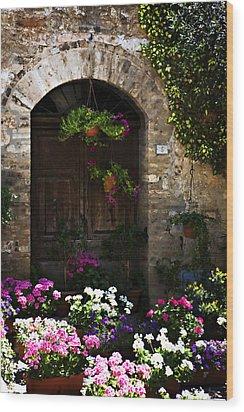 Floral Adorned Doorway Wood Print by Marilyn Hunt