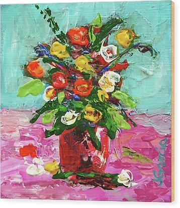 Floral Arrangement Wood Print by Janet Garcia
