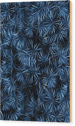 Floral Blue Abstract Wood Print by David Dehner