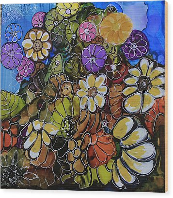 Floral Boquet Wood Print by Suzanne Canner