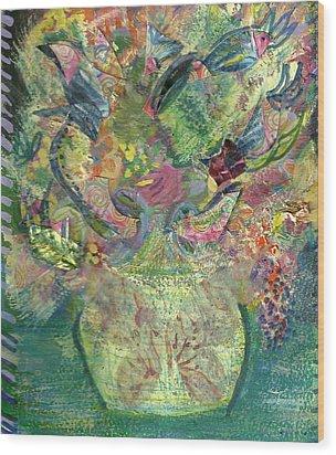 Floral Bouquet Green Wood Print by Anne-Elizabeth Whiteway