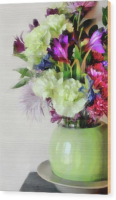 Floral Bouquet In Green Wood Print