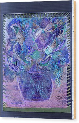 Floral Bouquet Purple  Wood Print by Anne-Elizabeth Whiteway