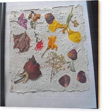 Floral Collage On Mullberry Handmade Paper Wood Print by Mircea Veleanu