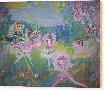 Floral Fairies Wood Print by Judith Desrosiers