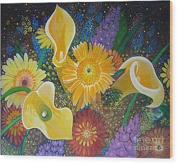 Floral Fireworks Wood Print