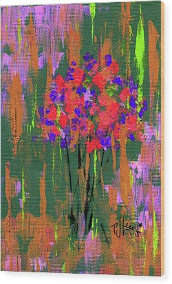 Wood Print featuring the painting Floral Impresions by P J Lewis
