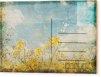 Floral In Blue Sky Postcard Wood Print by Setsiri Silapasuwanchai