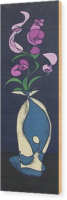 Floral On Indigo Wood Print